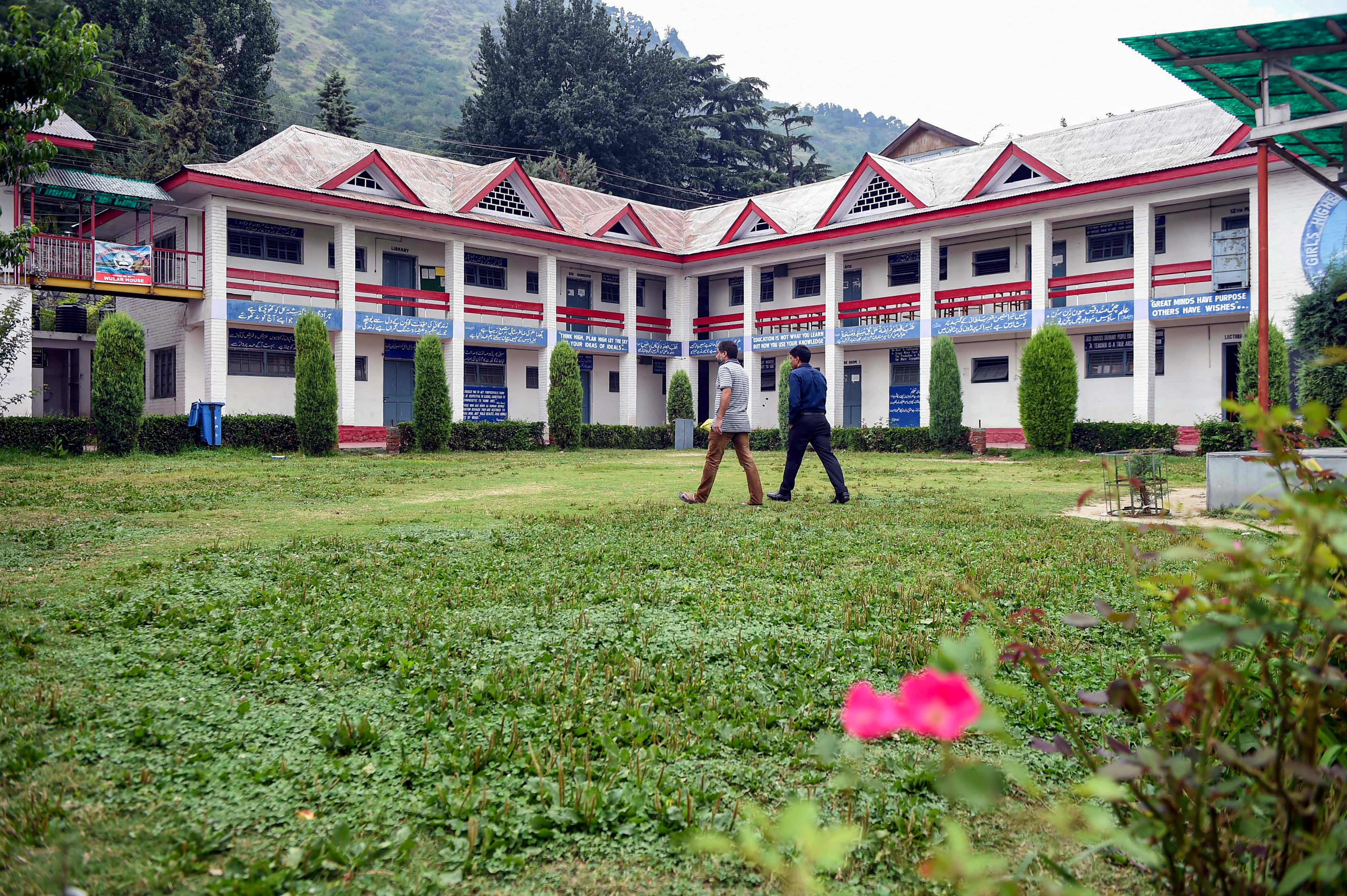 A deserted government high school building in Srinagar on August 28. Attempts by authorities to open high schools in Kashmir failed as parents did not send children to schools.