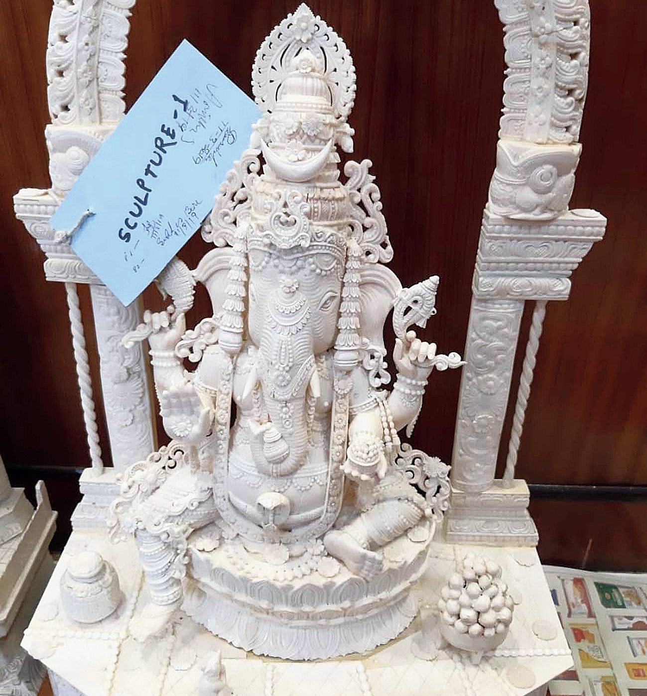 Another ivory statuette seized from the Kasba home of Sudheesh Chandra Babu and Amitha SC Babu on Tuesday.