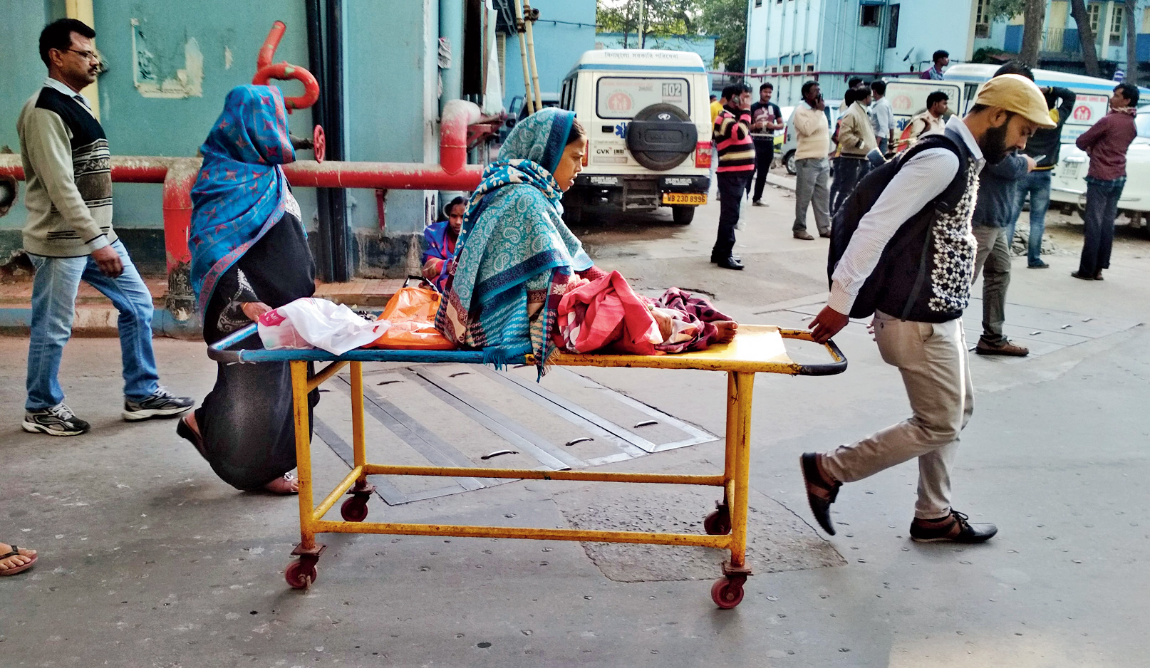 A patient being brought in at the NRS hospital.