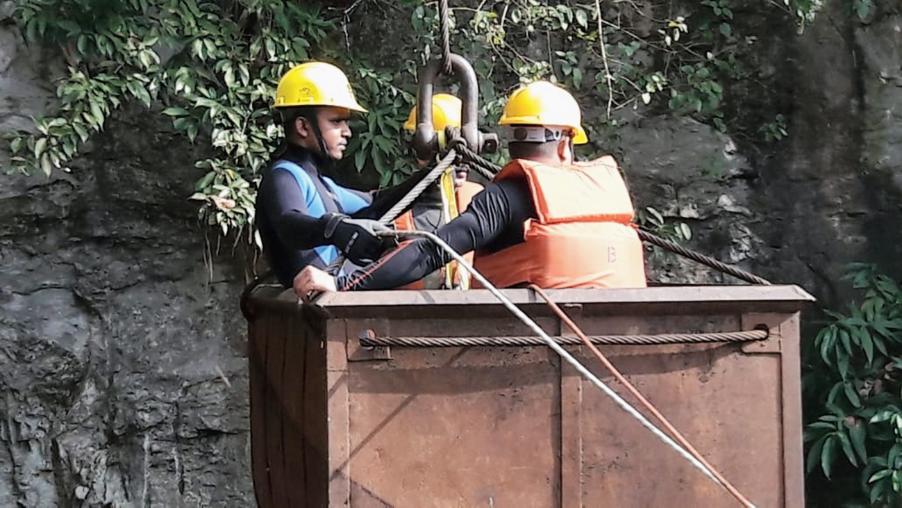 NDRF personnel undertake rescue operations at the coal mine in East Jaintia Hills on Saturday.