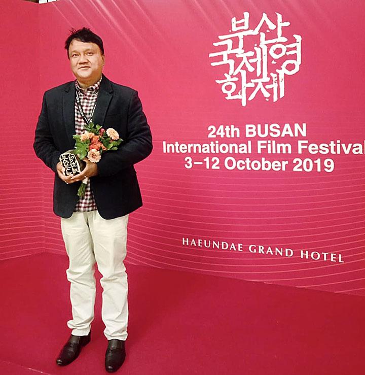 Pradip Kurbah after winning the award in Busan on Saturday
