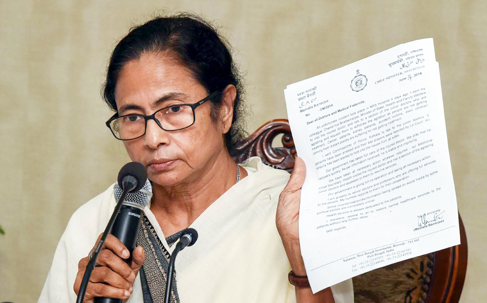 West Bengal Chief Minister Mamata Banerjee interacts with media on the doctor's strike, in Howrah on Saturday, June 15, 2019.