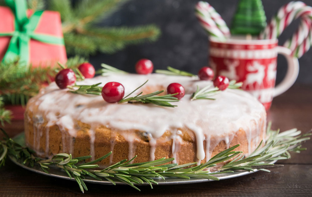 Fruit cake, mince pies, Christmas puddings, Yule logs are traditional Christmas desserts.