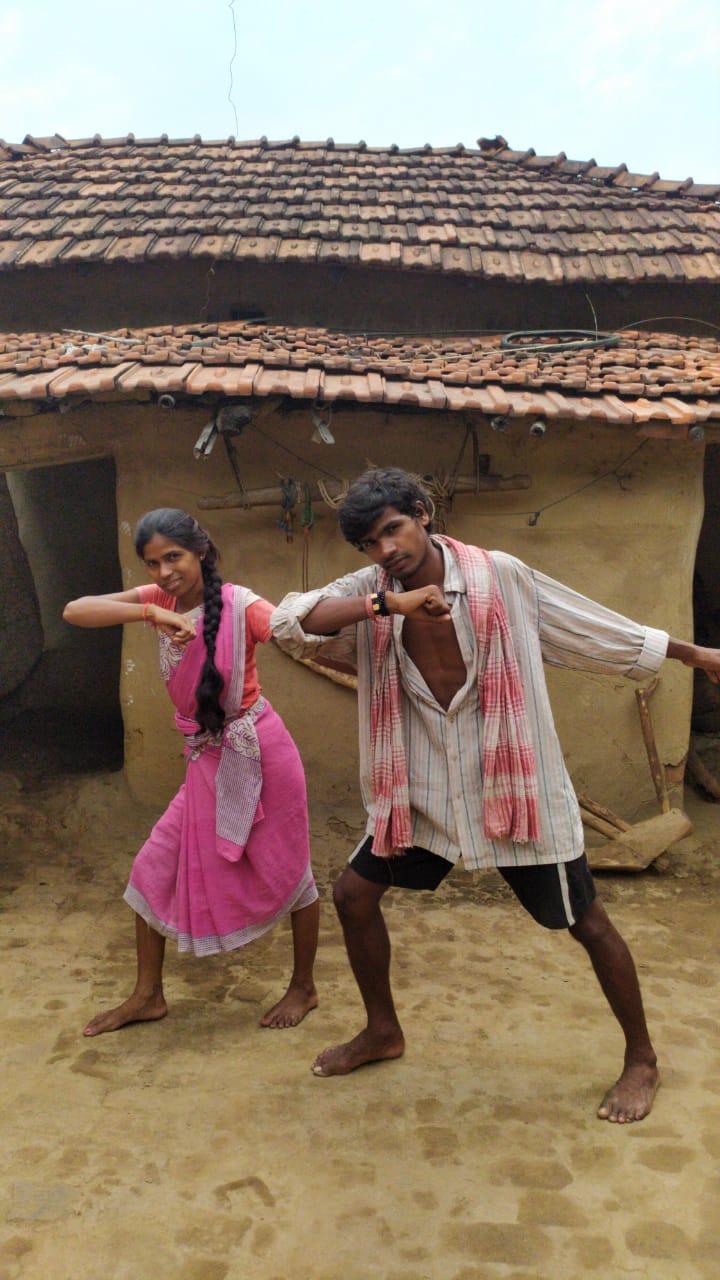 Savitri and Sanatan during a video shoot