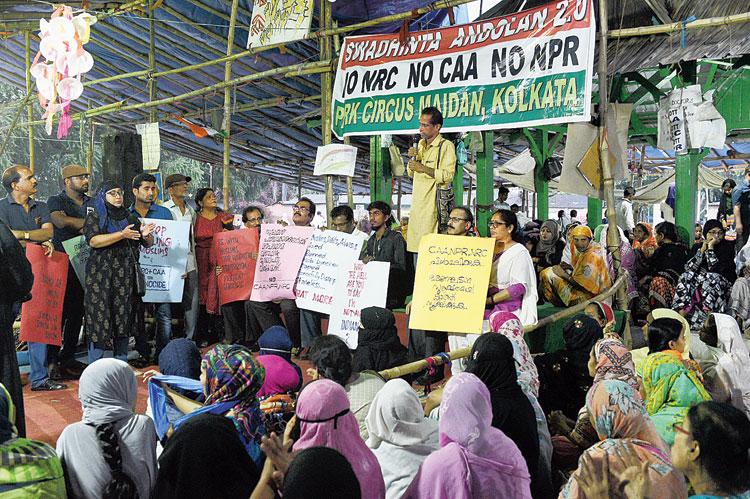Members of Purogamana Kala Sahitya Sangham Kolkata at Park Circus Maidan on Sunday.