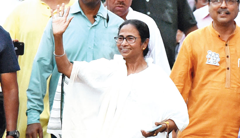 Mamata Banerjee during a road show in Jadavpur on Thursday.