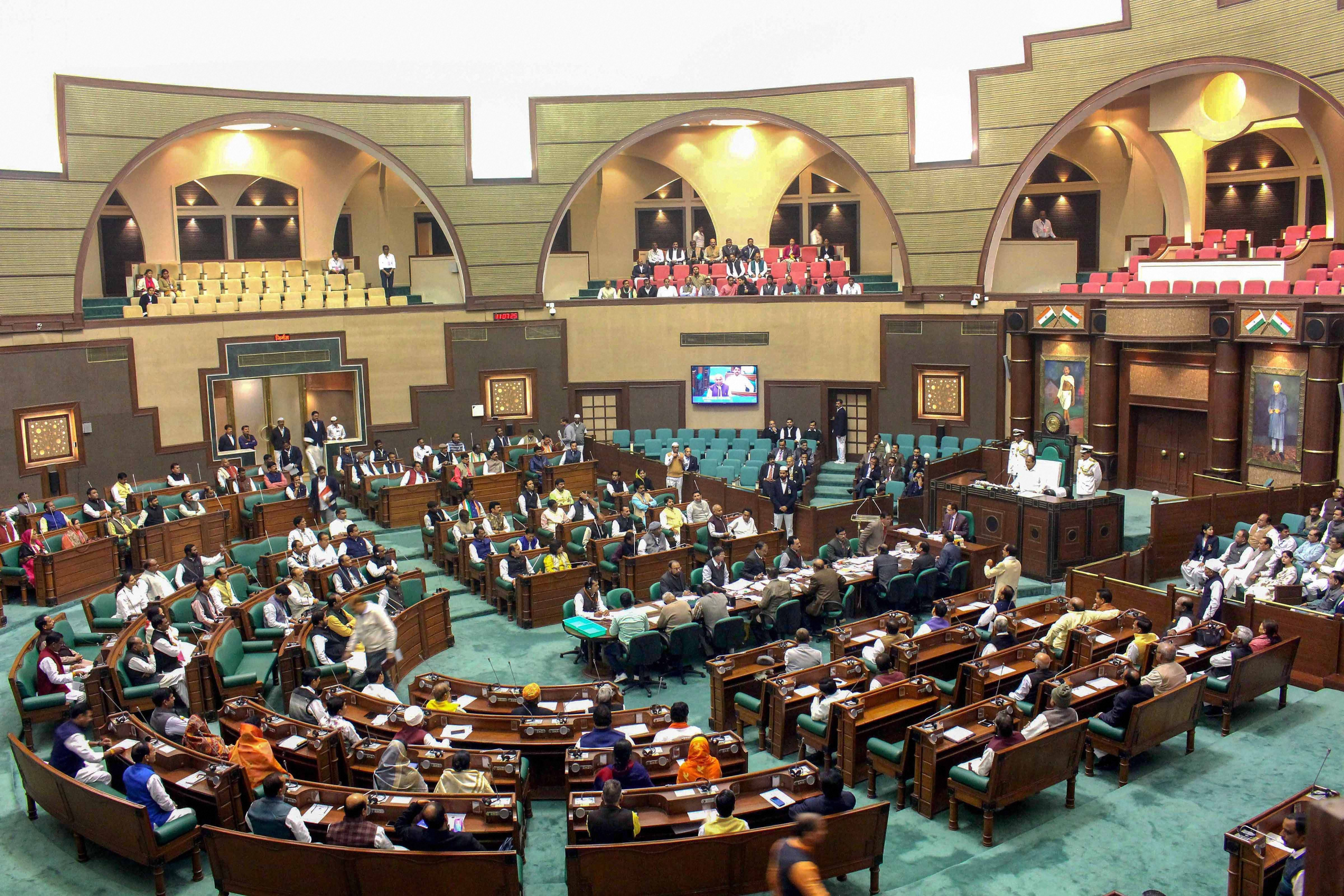 The first day of the winter session of the Madhya Pradesh Assembly in progress on Monday.