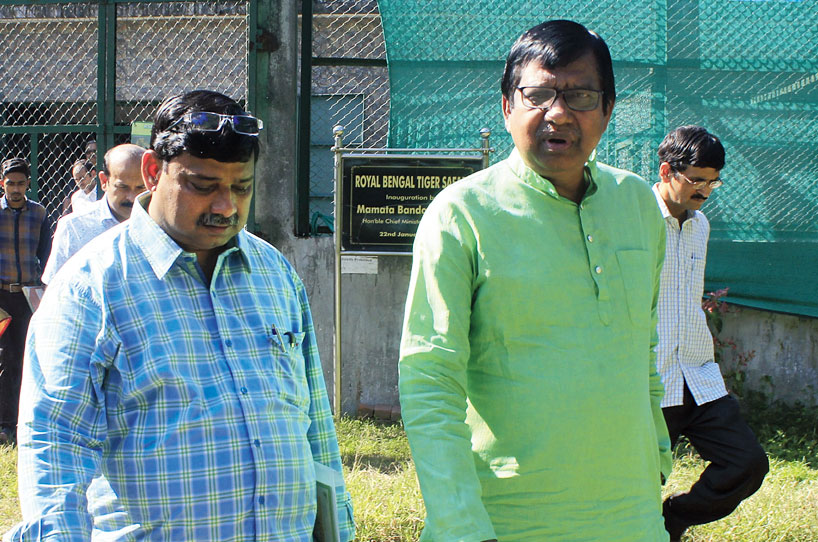 State forest minister Binoy Krishna Burman (right) and a department official at the Bengal Safari Park in Siliguri on Thursday.
