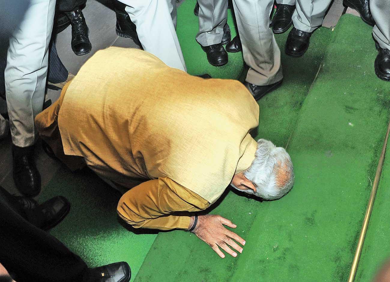 NaMo NaMo, 2019: Narendra Modi bows before Parliament on May 20, 2014.