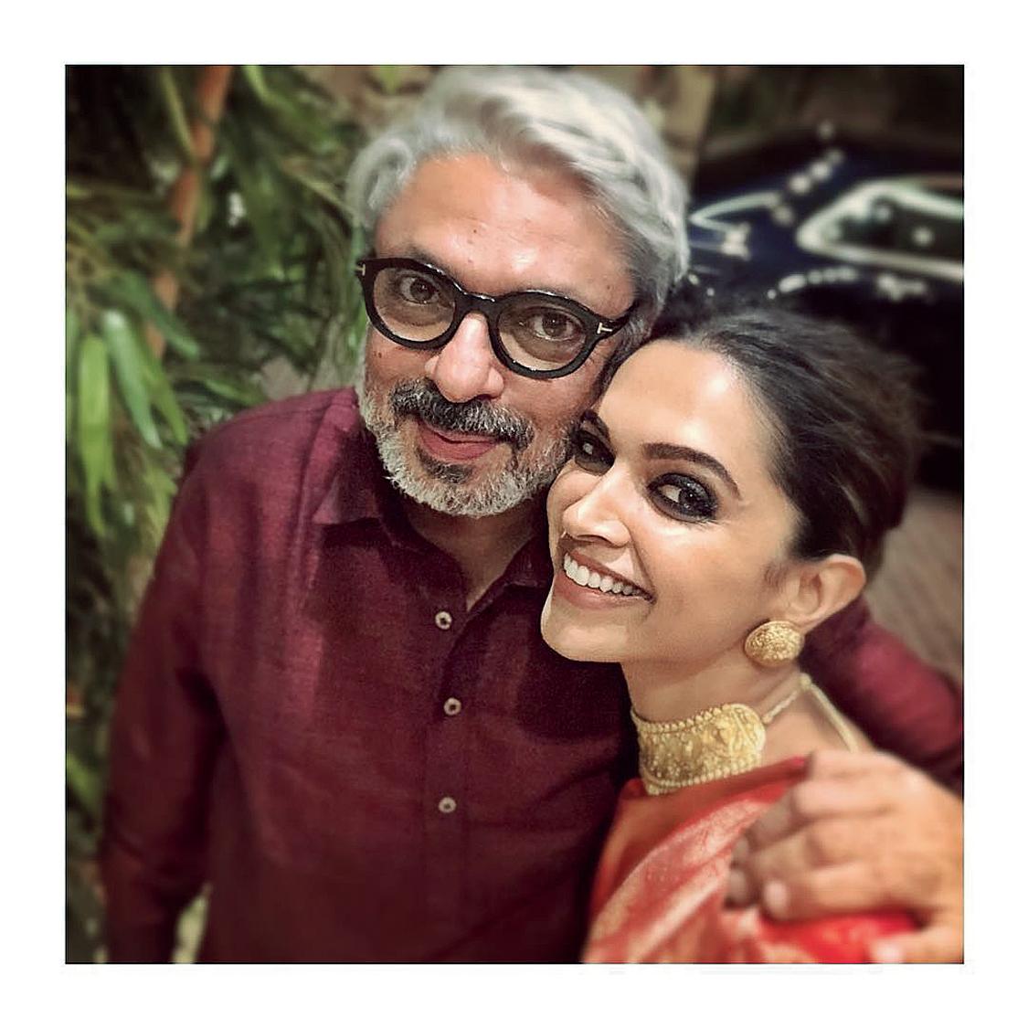 Sanjay Leela Bhansali with Deepika Padukone, who has starred in his last three films