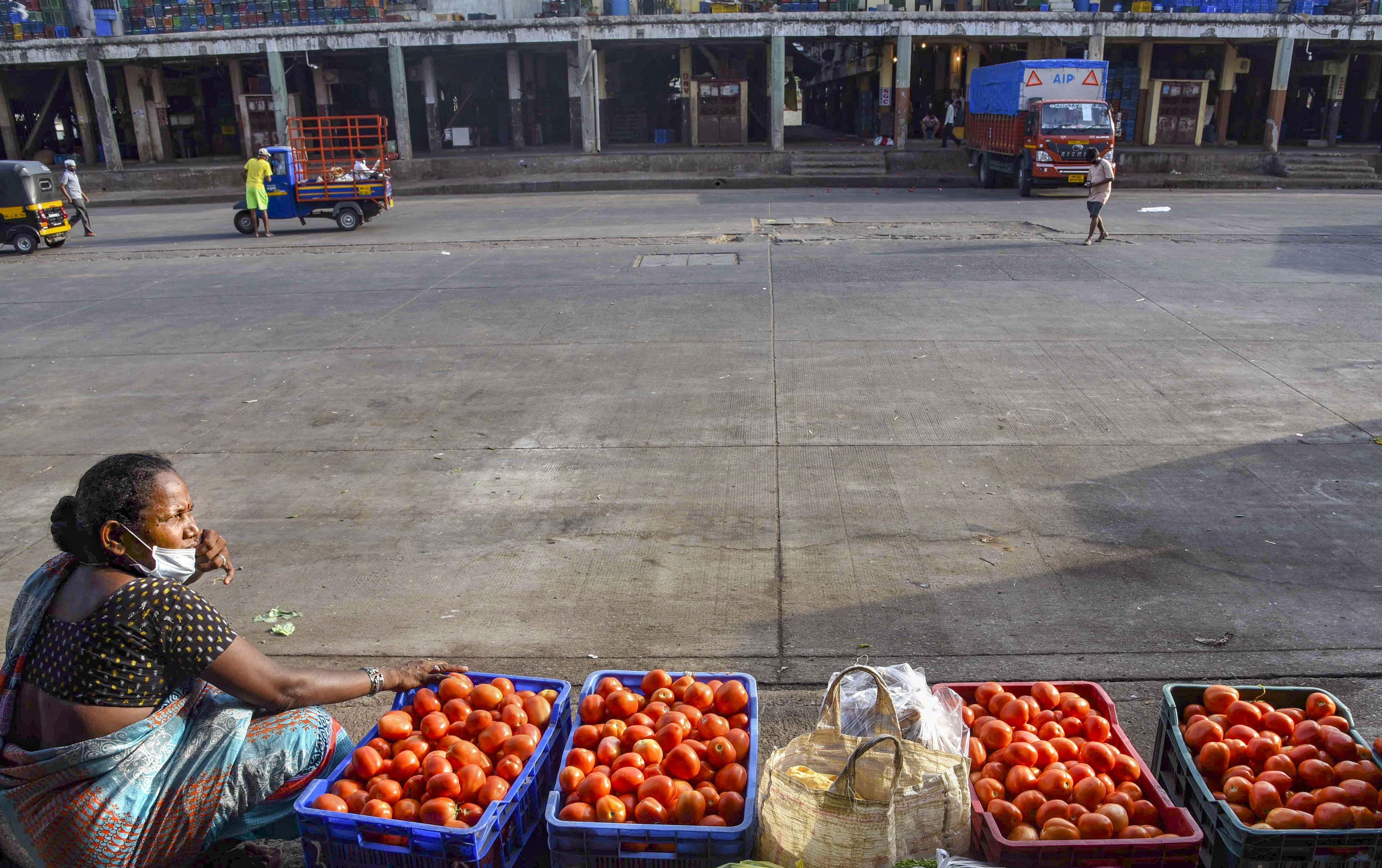 A vendor selling tomatoes waits for customers at APMC market after it opened with added precautionary measures against Covid-19, during the ongoing nationwide lockdown to curb the spread of coronavirus, in Navi Mumbai, Monday, May 18, 2020.