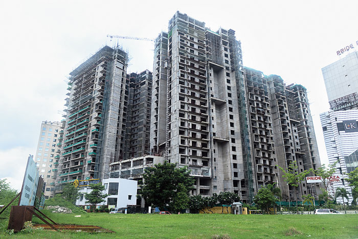 Buildings under construction in New Town