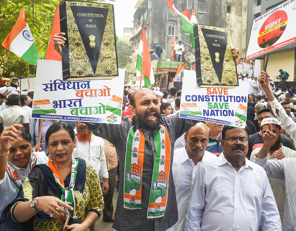 Congress leaders participate in a protest march Shanti March to oppose NRC and CAA in Mumbai, on December 28, 2019.
