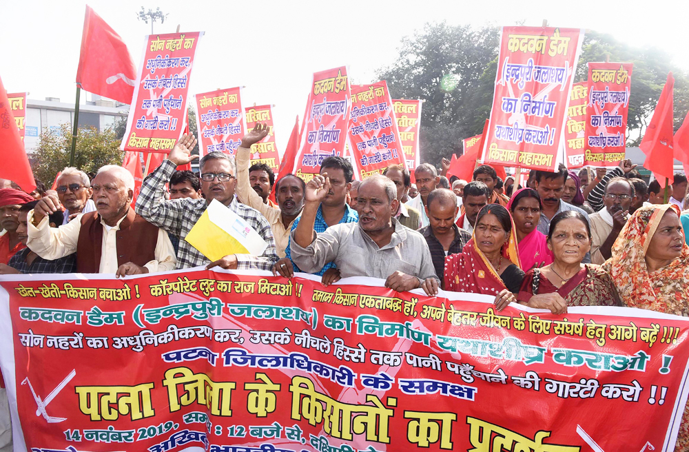 Farmers holding banners raise slogans during a protest march for their demands under the banner of Akhil Bhartiya Kisan Mahasabha, in Patna, Thursday, November 14, 2019.