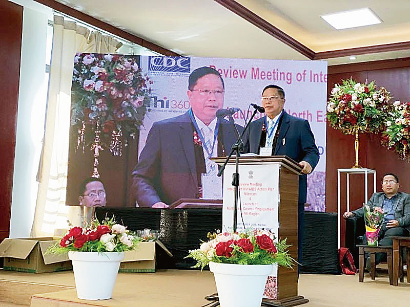 R. Lalthangliana addresses review meeting in Aizawl