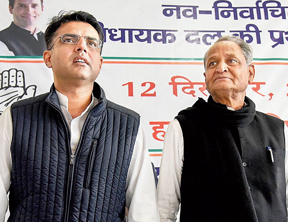 Sachin Pilot and Ashok Gehlot at the Congress Legislature Party meeting in Jaipur on Wednesday.