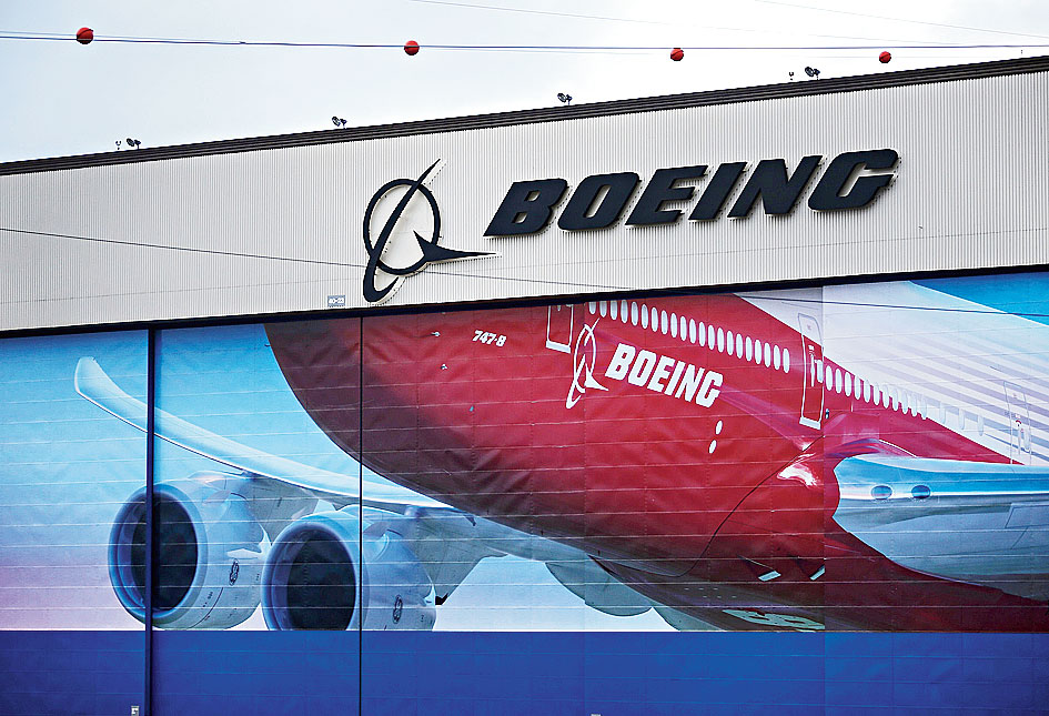 A Boeing logo is seen at the company's facility in Everett, Washington.