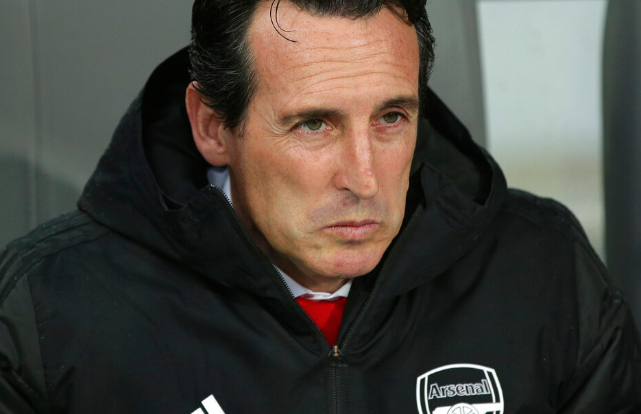 In this file photo dated Wednesday, November 6, 2019, Arsenal's head coach Unai Emery during the Europa League soccer match against Vitoria at the D. Afonso Henriques stadium in Guimaraes, Portugal.