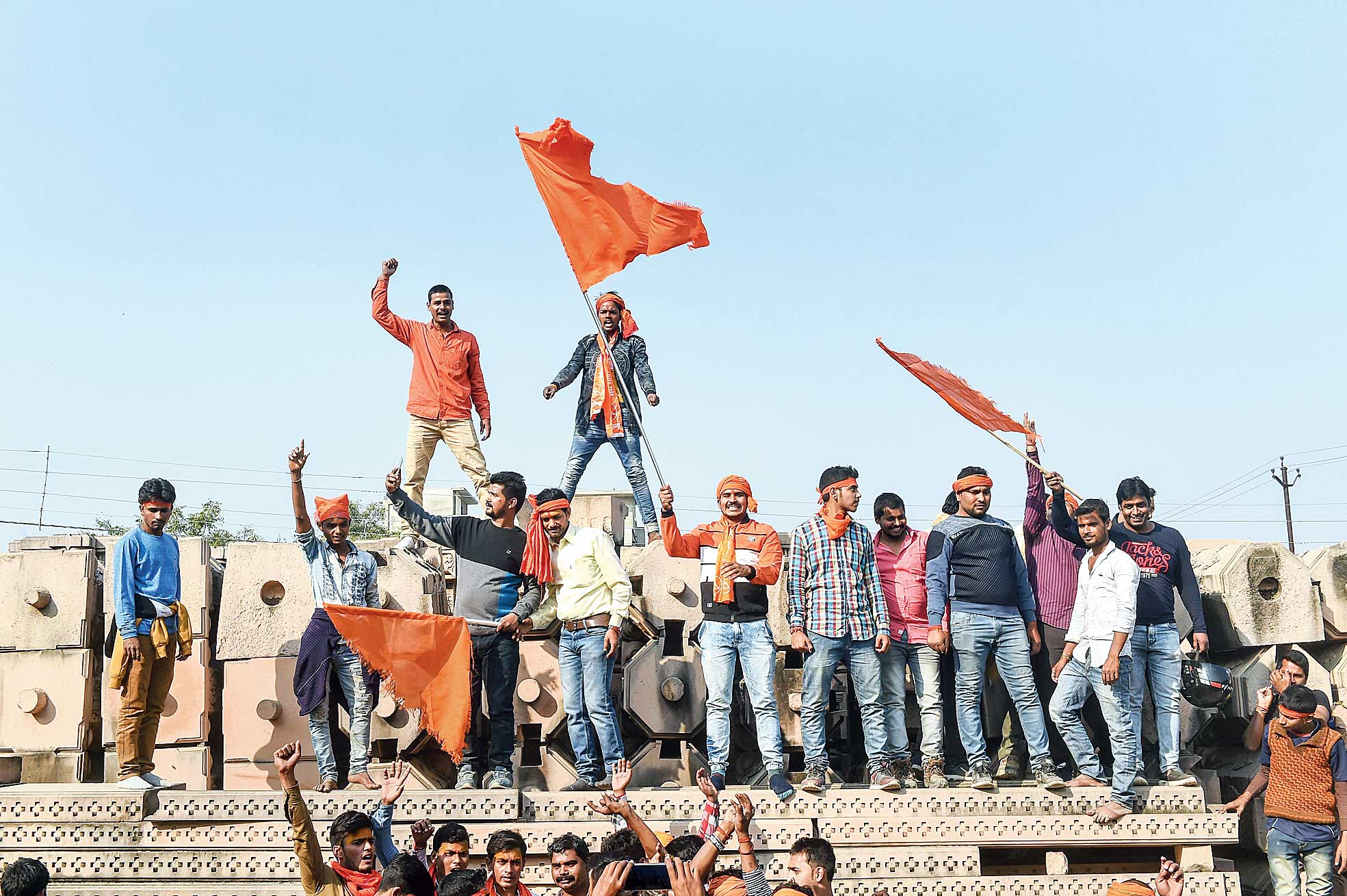 Supporters of the VHP's  Dharma Sabha gather at Kar Sevak Puram, the workshop for the proposed Ram temple, on Sunday.