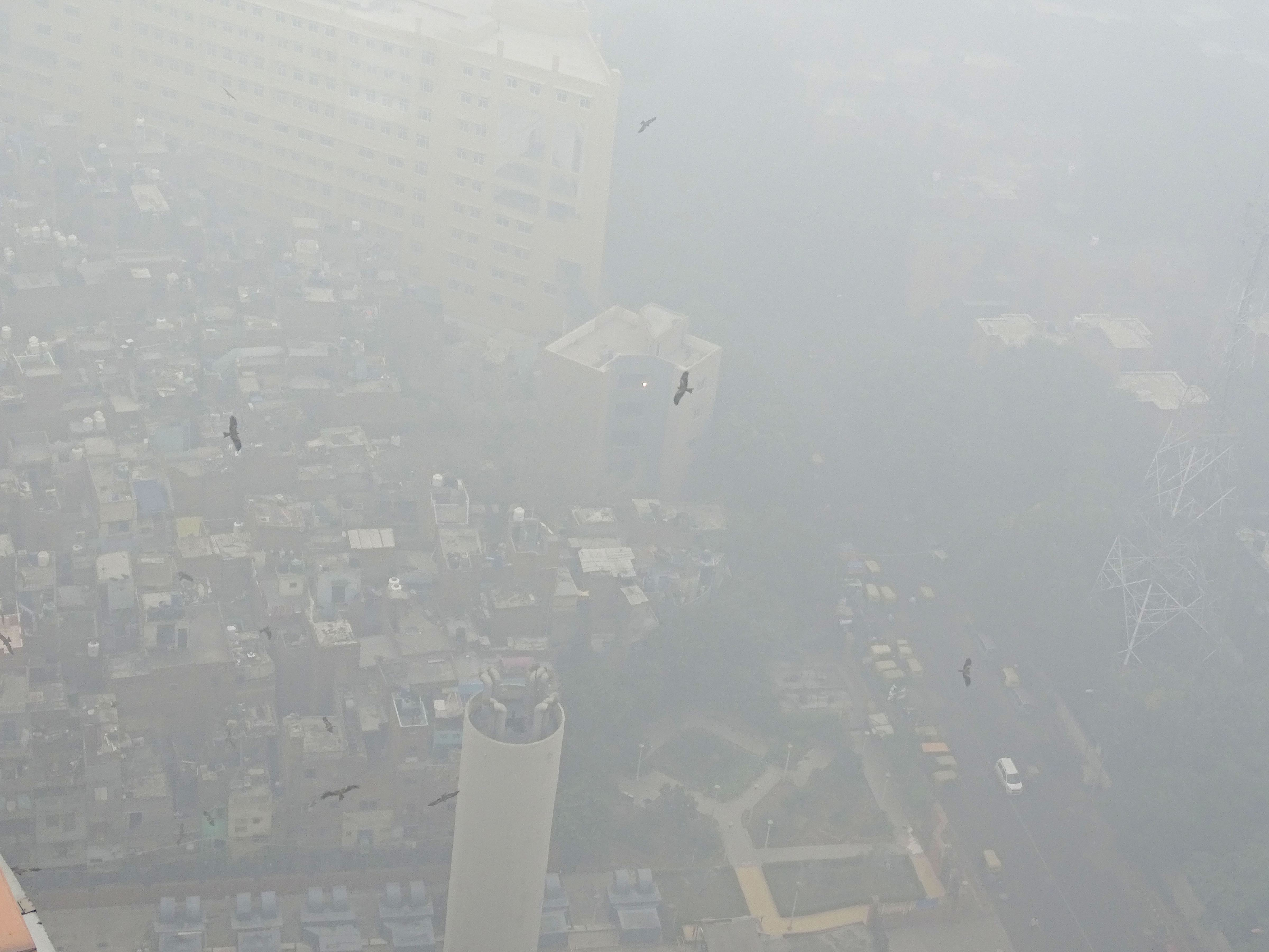 An aerial view of the national capital covered in smog, in New Delhi, Sunday, November 3, 2019.