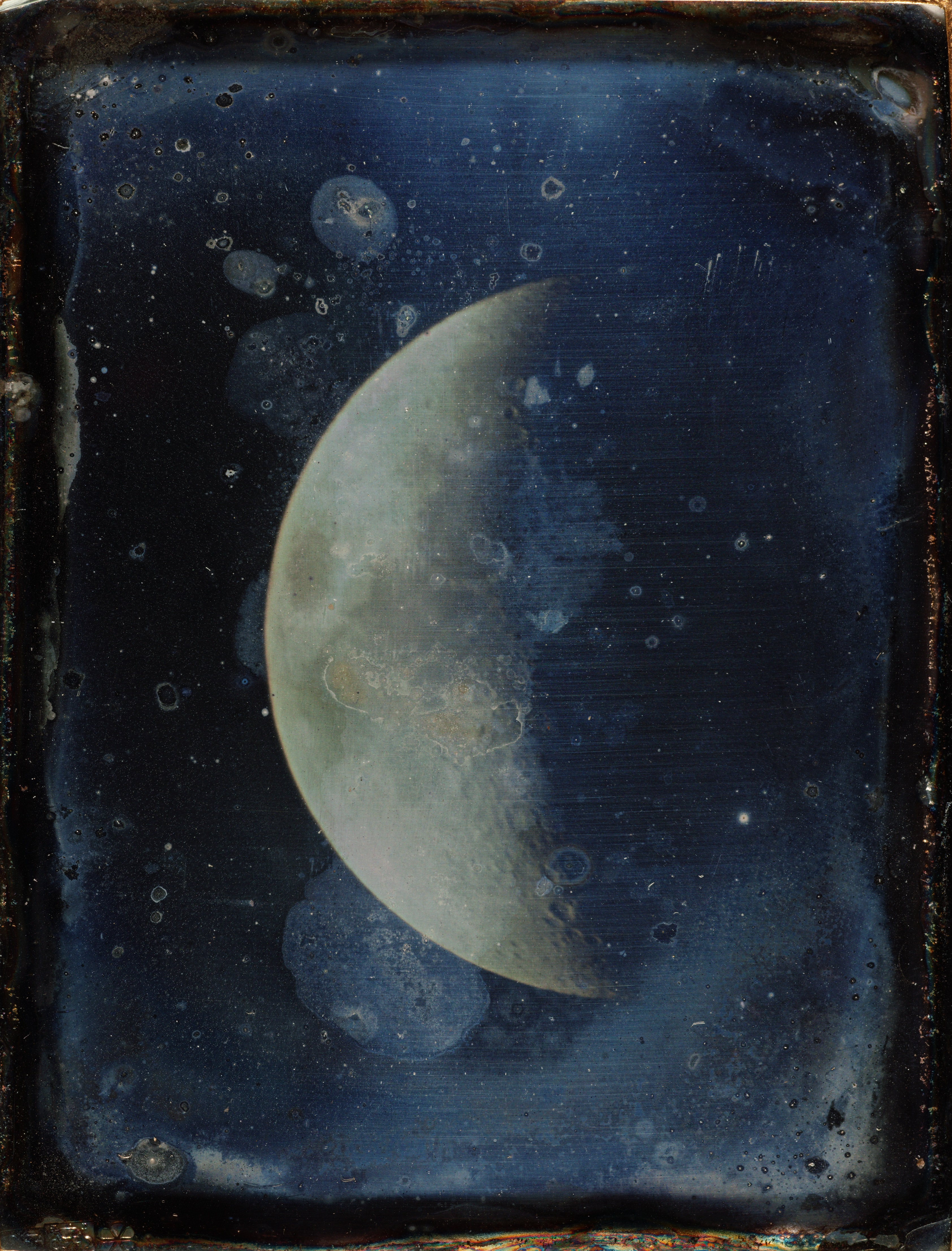 John Adams Whipple, (American, 1822–1891); View of the Moon, 1852; Daguerreotype; 3 ⅞ x 3 in. (9.8 x 7.6 cm). Considered to be one of the oldest existing photographs of the moon