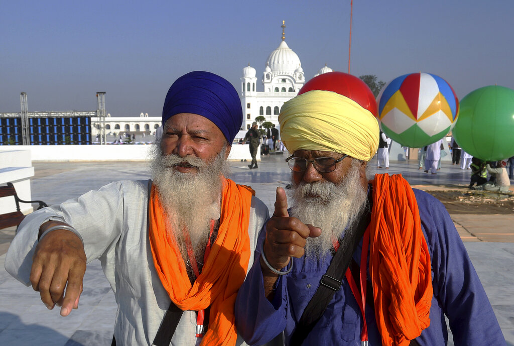 Sikh pilgrims visit the shrine of their spiritual leader Guru Nanak Dev, at Gurdwara Darbar Sahib in Kartarpur, Pakistan. Pakistan's prime minister Imran Khan has inaugurated a visa-free initiative that allows Sikh pilgrims from India to visit one of their holiest shrines.
