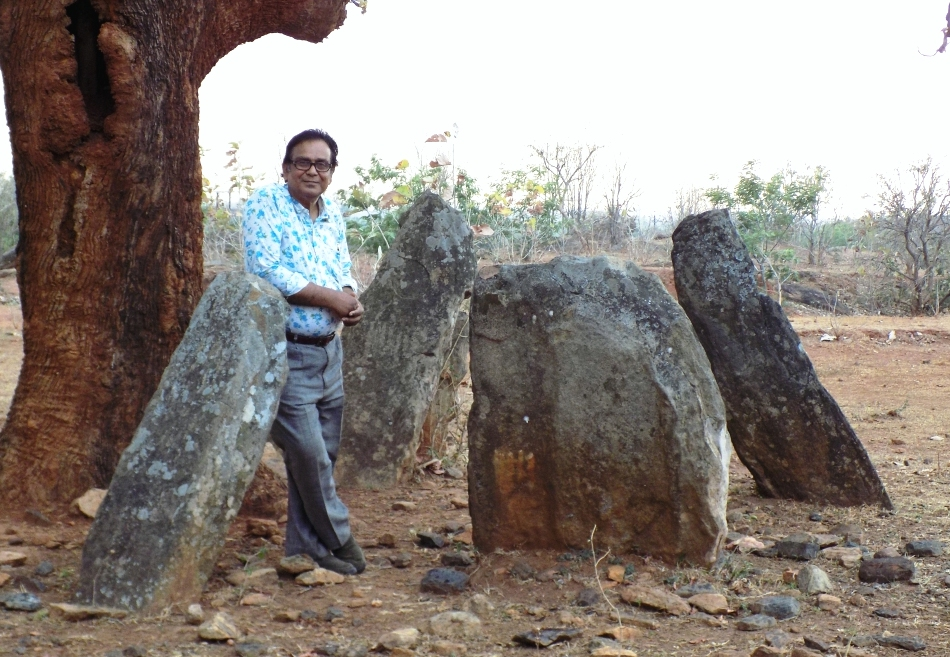 Subhashis Das at a megalithic site in Hazaribagh