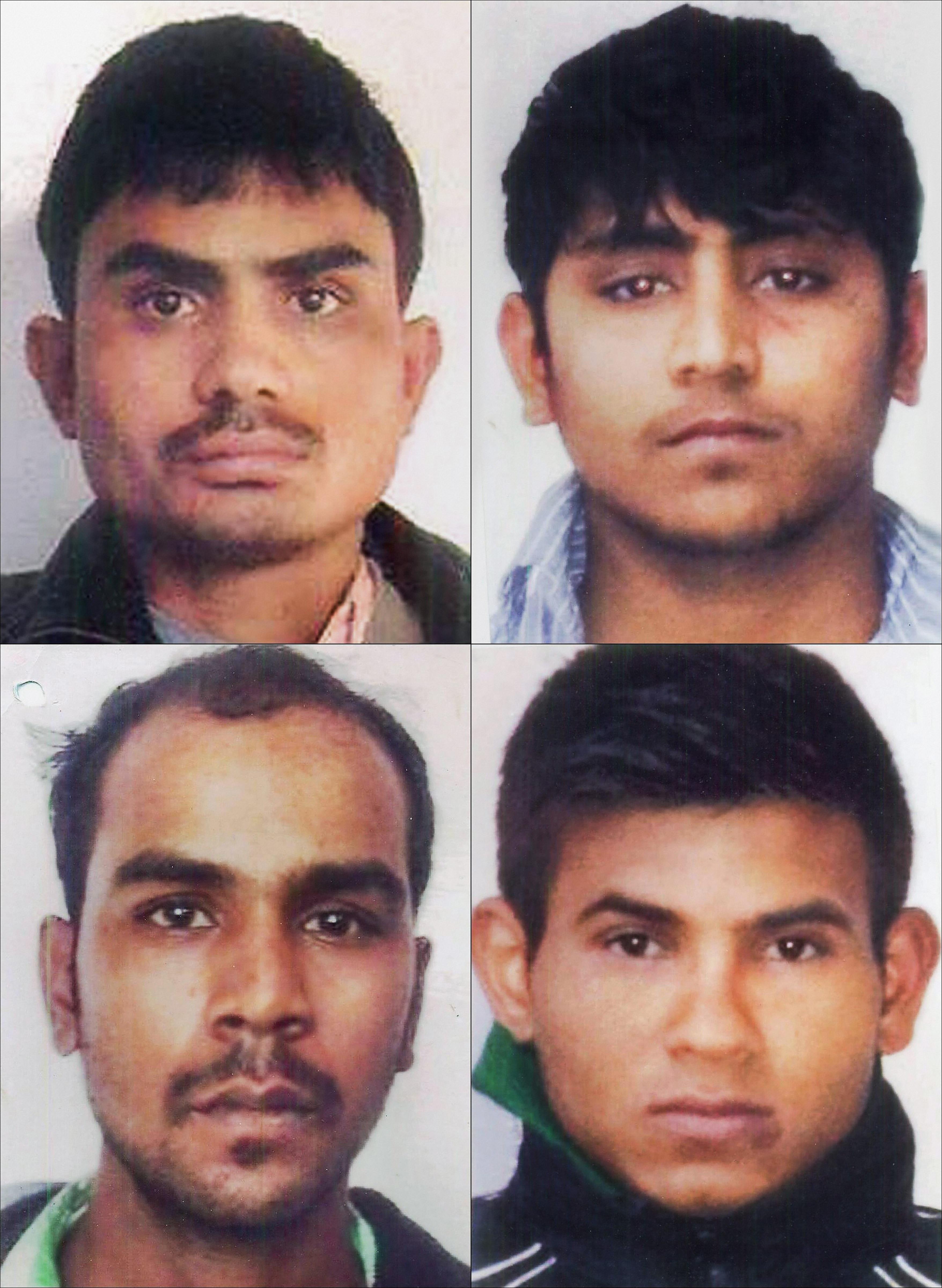 2012 Delhi gang rape case convicts, clockwise from top left, Akshay Thakur, Pawan Gupta, Vinay Sharma, and Mukesh Singh.