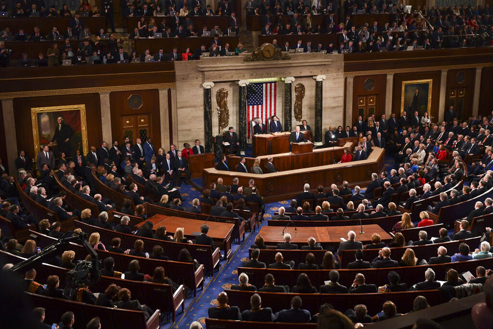 President Donald Trump delivers his State of the Union address to a joint session of Congress on Capitol Hill in Washington on January 30, 2018
