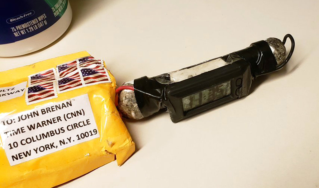 This image obtained provided by ABC News shows a package addressed to former CIA head John Brennan and an explosive device that was sent to CNN's New York office.