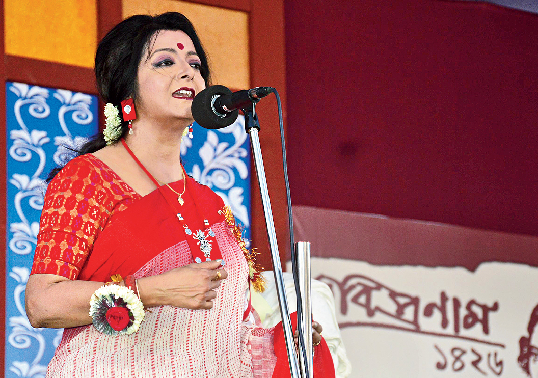 Bratati Bandyopadhyay recites at Central Park.