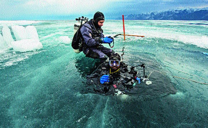 Mukherjee in frozen Baikal Lake in Siberia, where he had gone to document