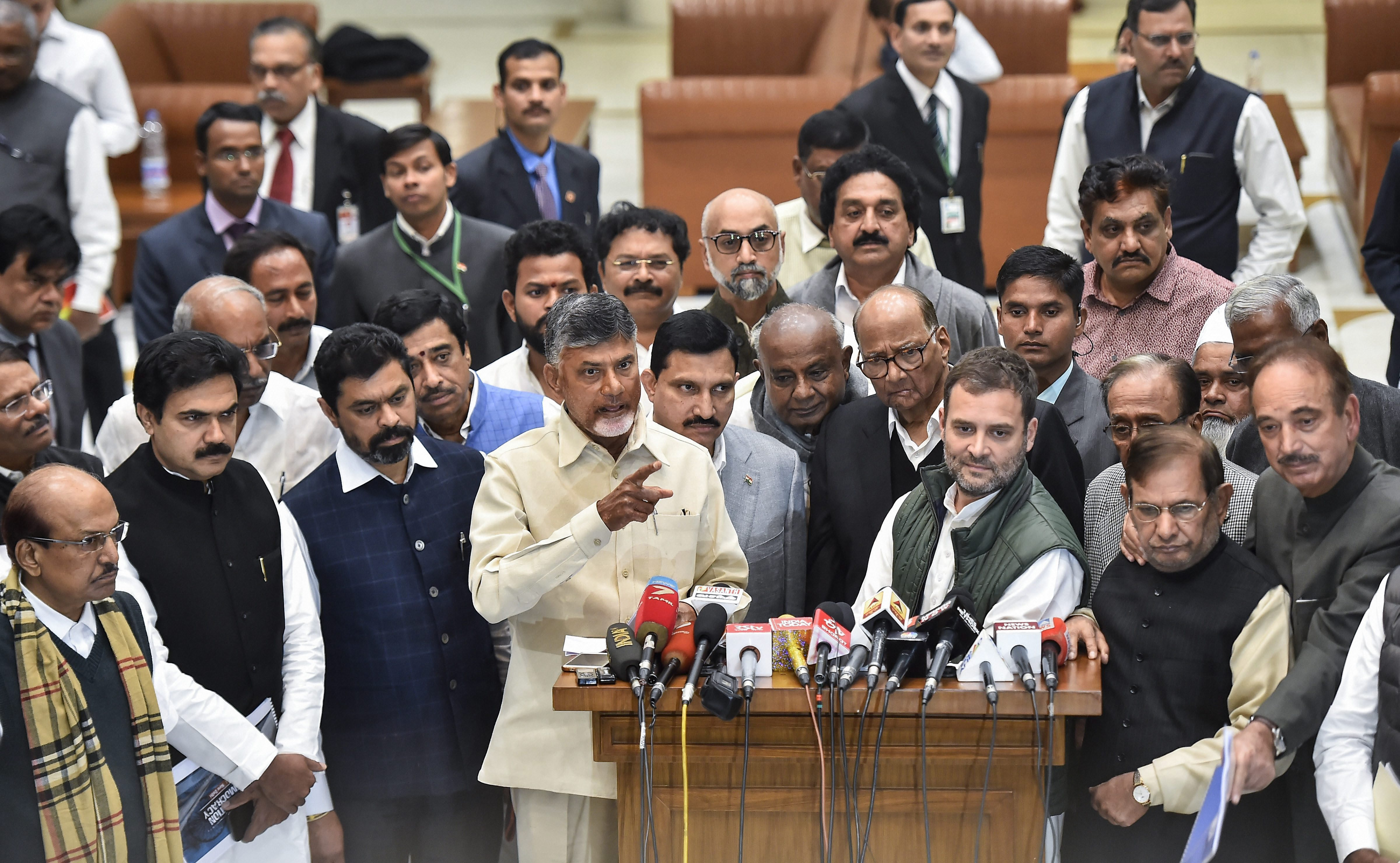 Leaders at a press conference after the Opposition meeting in New Delhi on Monday.