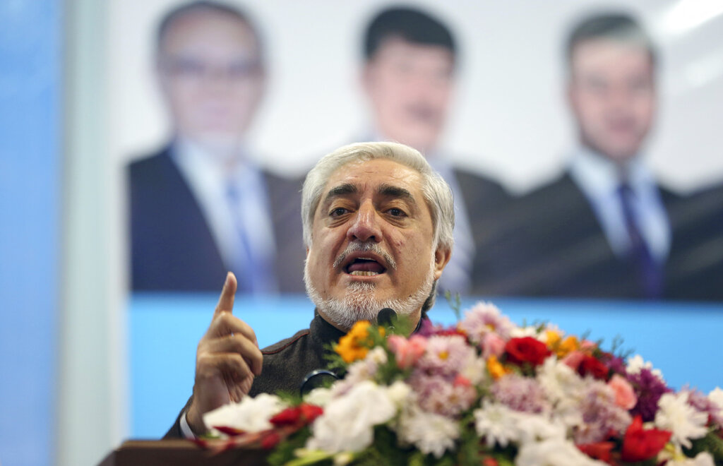 Afghan presidential candidate Abdullah Abdullah speaks to his supporters during a gathering in Kabul, Afghanistan, Sunday, November 10, 2019. Abdullah has unilaterally withdrawn his team's election observers from an official recount of ballots ahead of long-delayed election results.