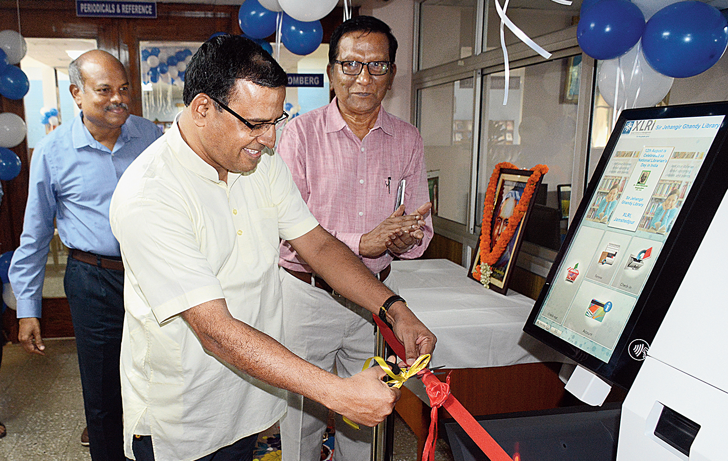 Father Jerome Cutinha, dean (administration & finance) of XLRI, inaugurates Bibliotheca at Jehangir Ghandy Library on the B-School campus in Jamshedpur on Monday.