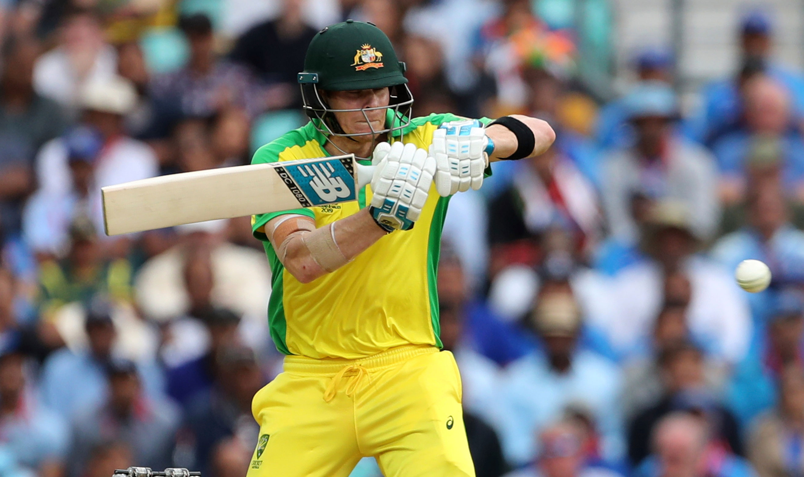 Steve Smith bats during the ICC Cricket World Cup match between Australia and India at The Oval in London, on June 9, 2019.