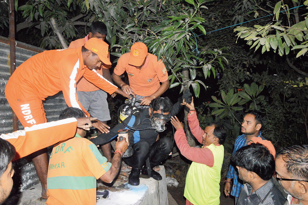 An NDRF diver during the rescue operation on Sunday night.