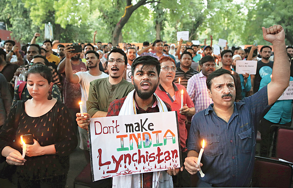 A protest in New Delhi on June 26 against lynching. As unexpected as the grounds for Wednesday's action were its speed and manner: the three Dalit and two OBC students were expelled within four hours of their protest programme, without any inquiry or opportunity to defend themselves.
