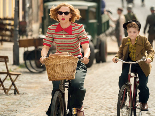 Scarlett Johansson in a scene from Jojo Rabbit with Griffin Davis