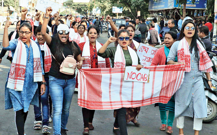 Women protest in Jorhat on Friday