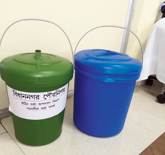 Sample buckets at Poura Bhavan