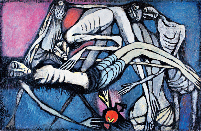 Assassinated, a painting by Prokash Karmakar
