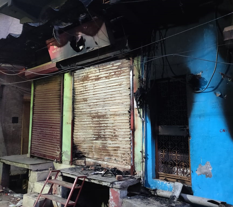 Burnt homes and shops in a Muslim mohalla in Shiv Vihar