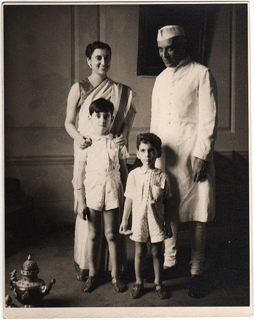 Indira Gandhi, Jawaharlal Nehru, Rajiv Gandhi and Sanjay Gandhi (1949)