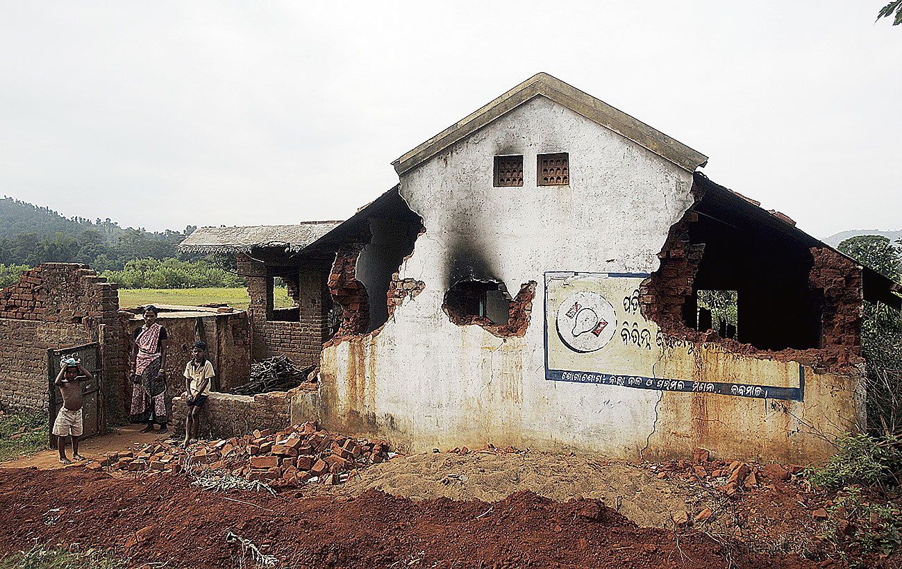 House in Bujulimendi in Odisha's Kandhamal district, damaged during riots