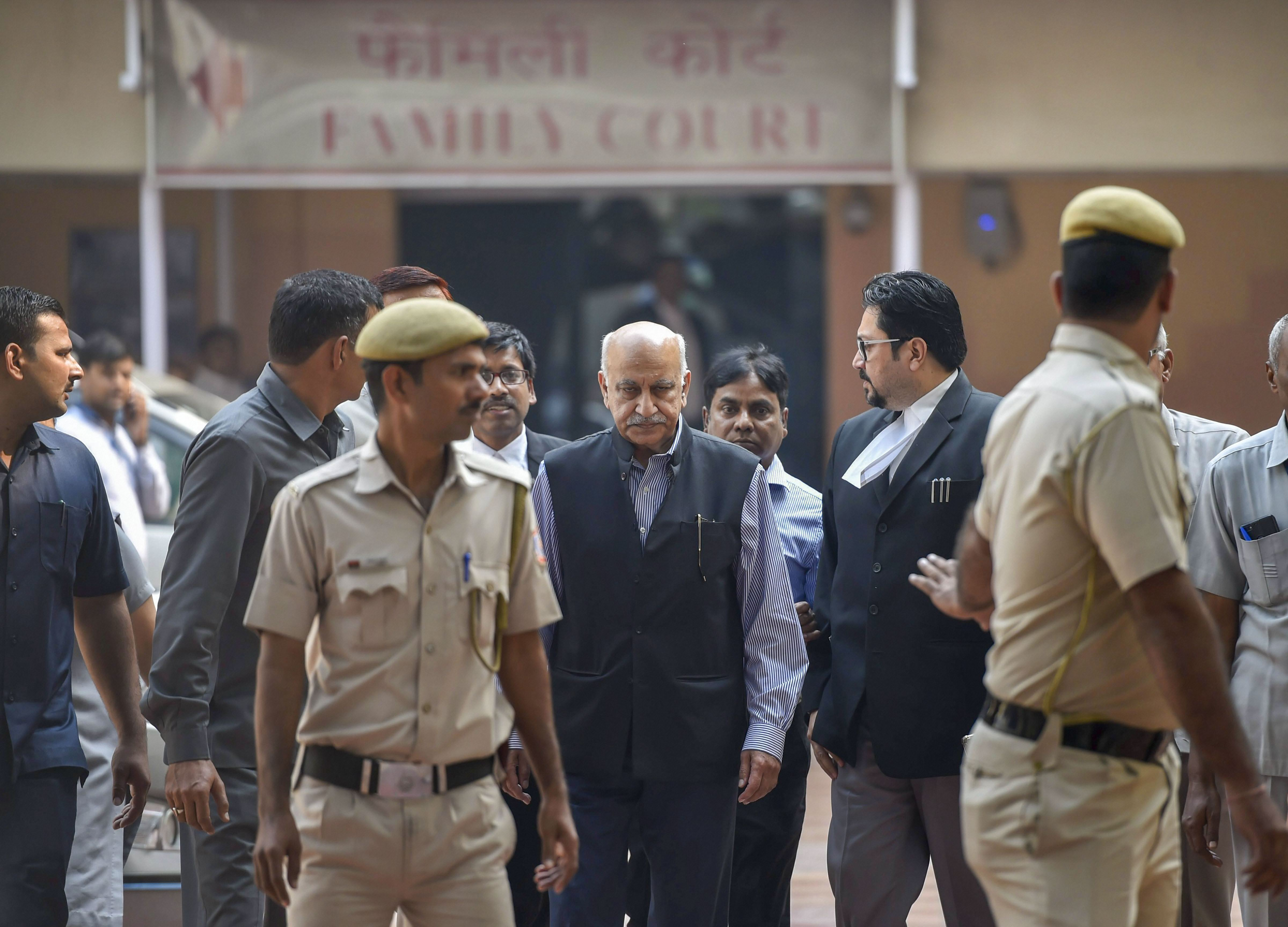 Akbar at the court for a hearing in the Priya Ramani defamation case.