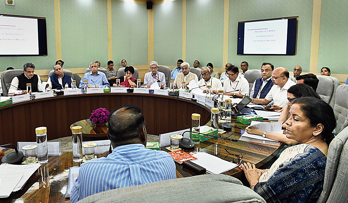 Nirmala Sitharaman during a meeting with infrastructure ministries in New Delhi on Friday.