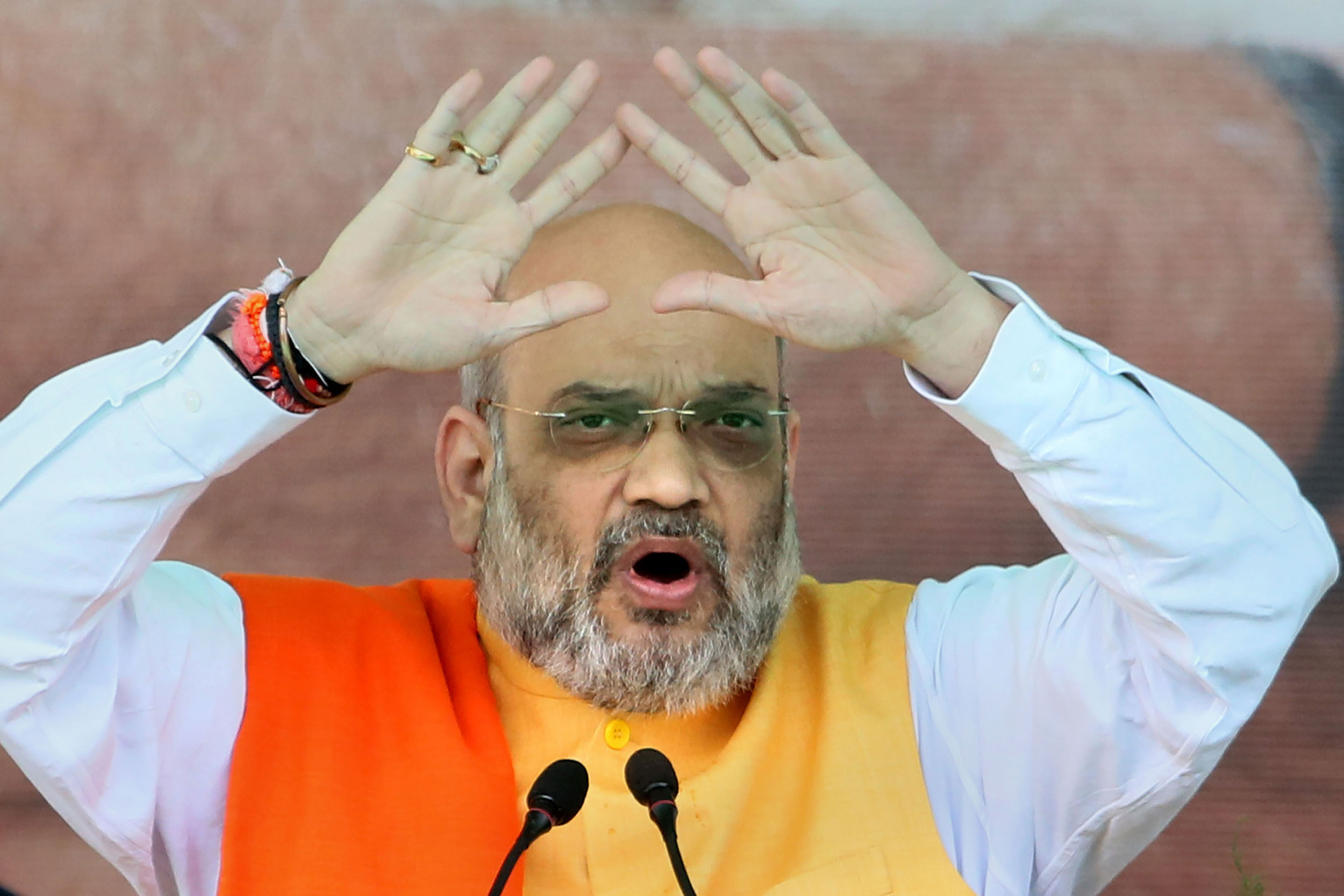 Amit Shah addresses a rally in Jamtara, Jharkhand, on September 18, 2019. His belligerence against the kernel of democracy — a Parliament that is accommodating of political parties and ideologies of every kind — may be based on bullish confidence.