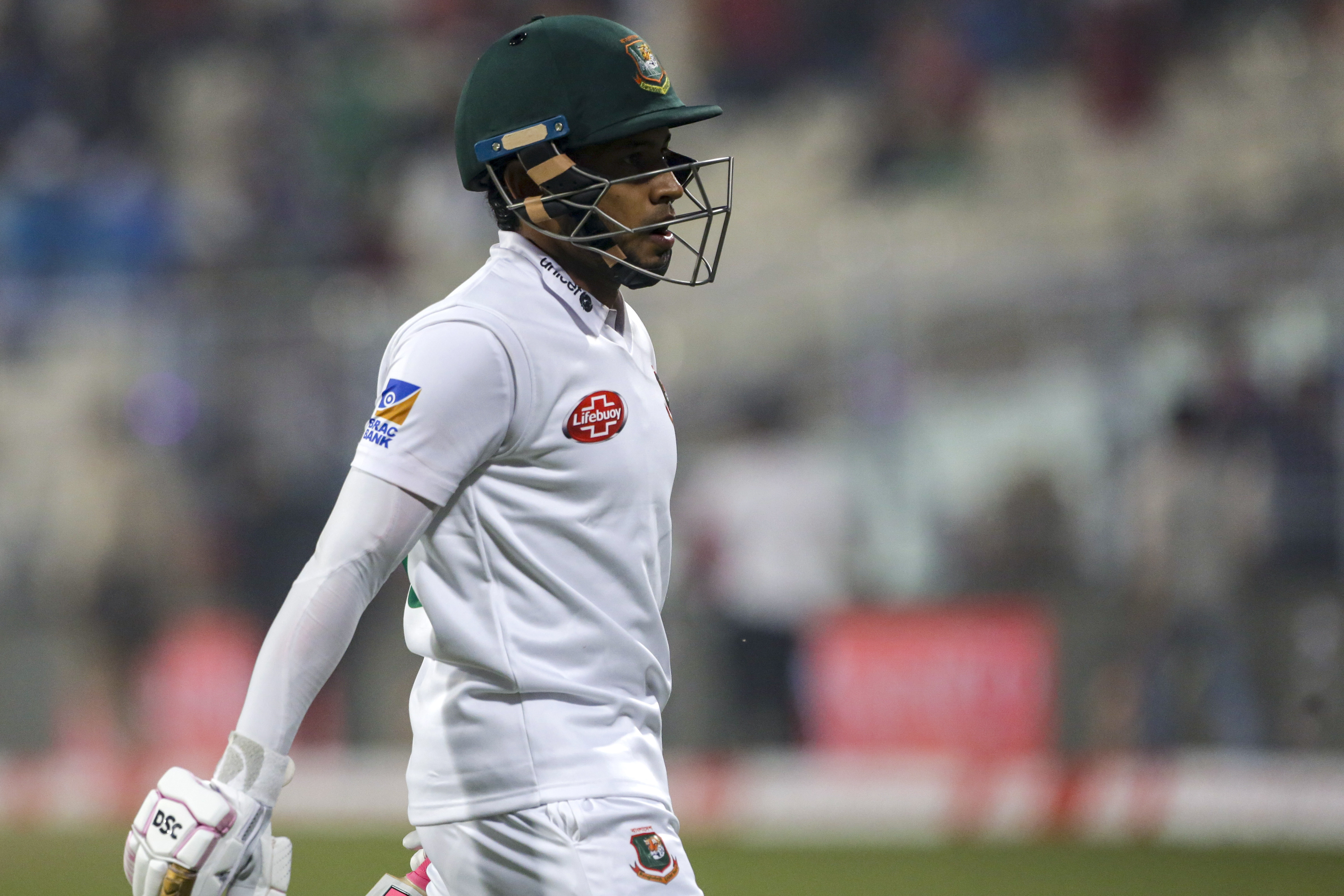 Mushfiqur Rahim reruns unbeaten for the day during the second day of the second test cricket match between India and Bangladesh, in Kolkata, India, on November 23, 2019