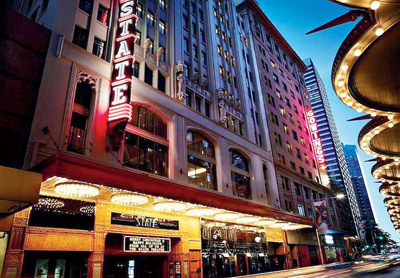 QT Sydney shares the building with two historical buildings, Gowings and The State Theatre